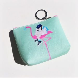 Girl on Flamingo Coin Purse